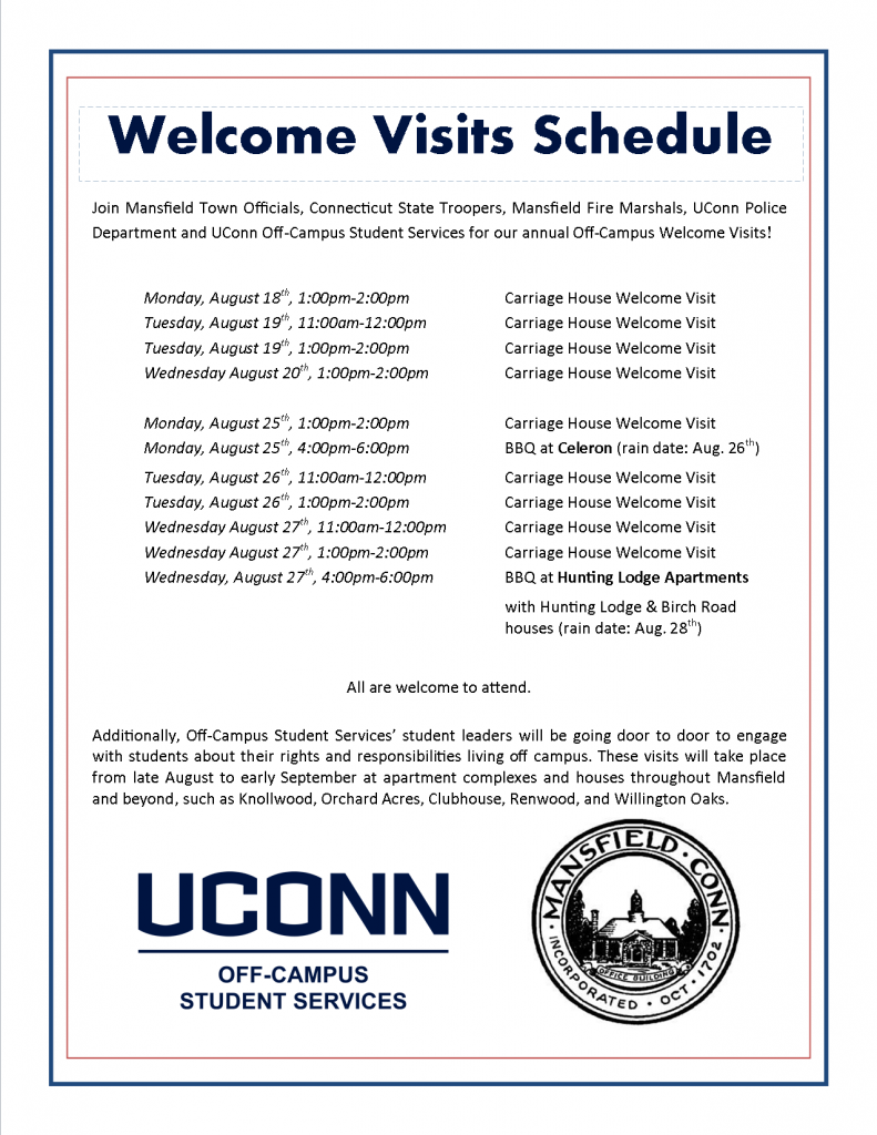 2014 Welcome Visit Schedule